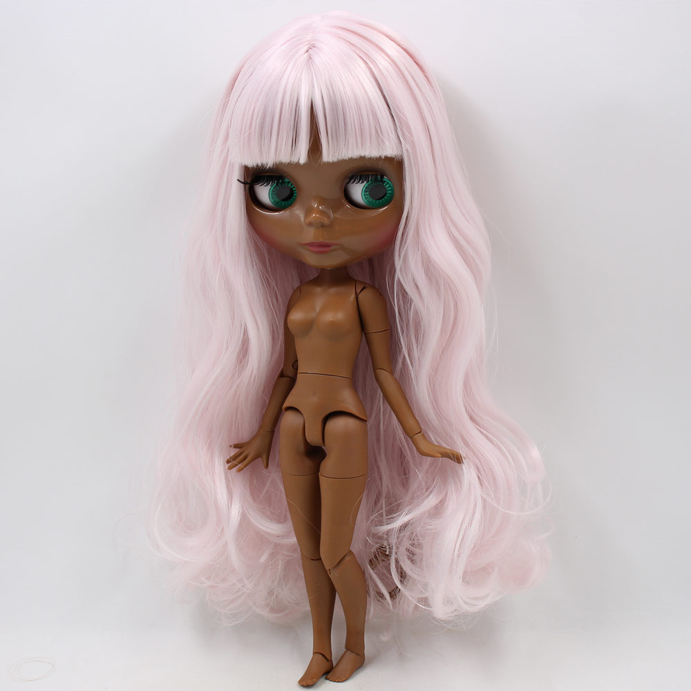 Icy Neo Blythe Doll Light Pink Hair Black Skin Jointed Body 30cm