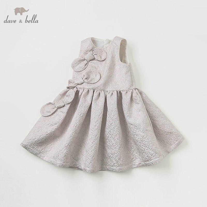 DBK10588 dave bella summer dress sleeveless light gold kids girls dress children birthday party boutique bow