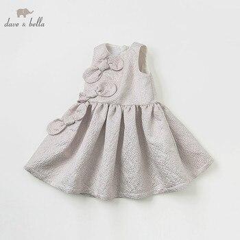 DBK10588 dave bella summer dress sleeveless light gold  kids girls dress children birthday party boutique bow dress