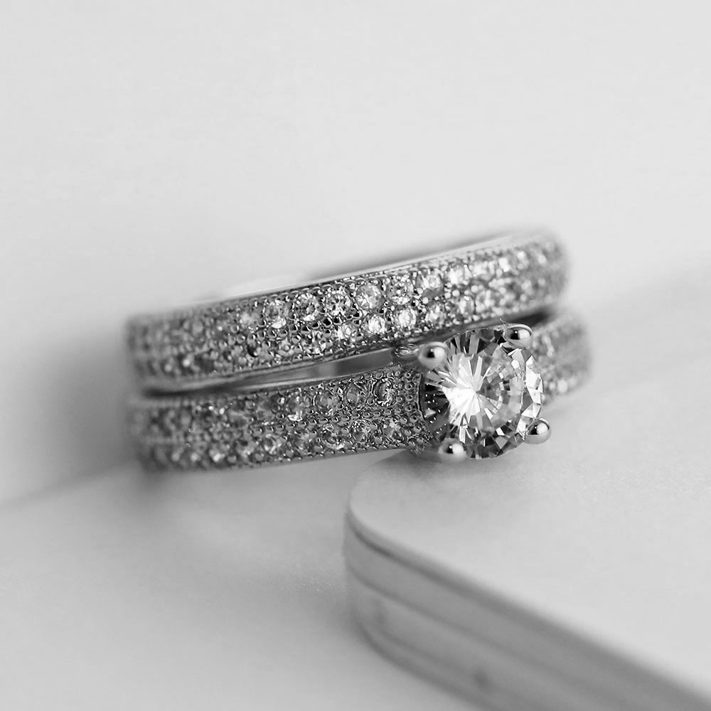Luxury Female White Bridal Wedding Ring Set Fashion Silver Color Filled Jewelry Promise CZ Stone Engagement Rings For Women 2