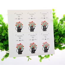 6pcs/sheet Flower THANK YOU Design Sticker Labels Food Seals Gift stickers for Wedding Packaging Wrapping Backing Xmas
