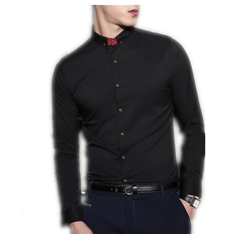 Online Shop Simple fashion man's shirt black slim fit long sleeve ...