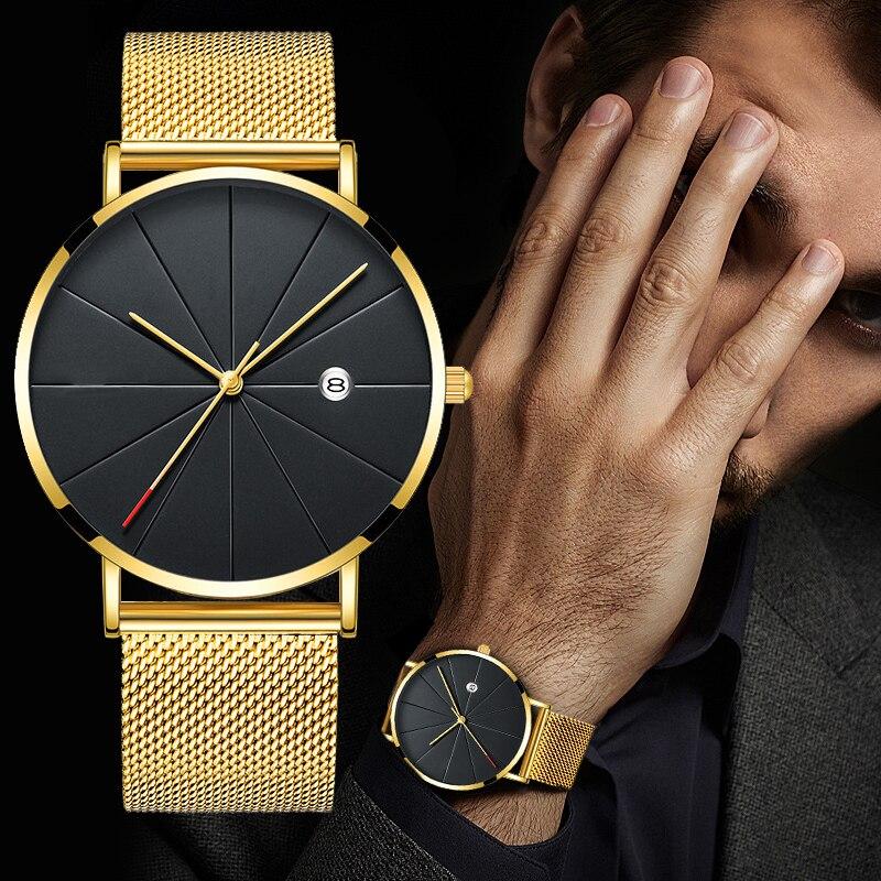 HTB1LQe7aUuF3KVjSZK9q6zVtXXaq Luxury Fashion Business Watches Men Super Slim Watches Stainless Steel Mesh Belt Quartz Watches Gold Watches Men Gift 2019