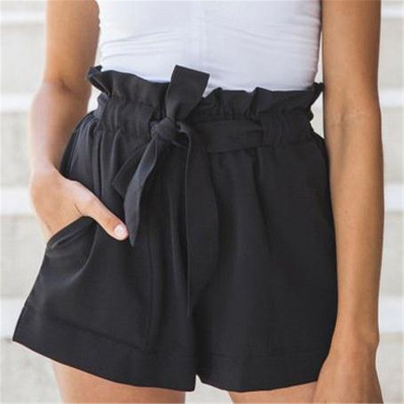 Women High Waisted Mini Shorts Casual Soild Color Summer Beach Hot  Bottom Ladies' New Fashion Sashes Short Trousers Hot Selling