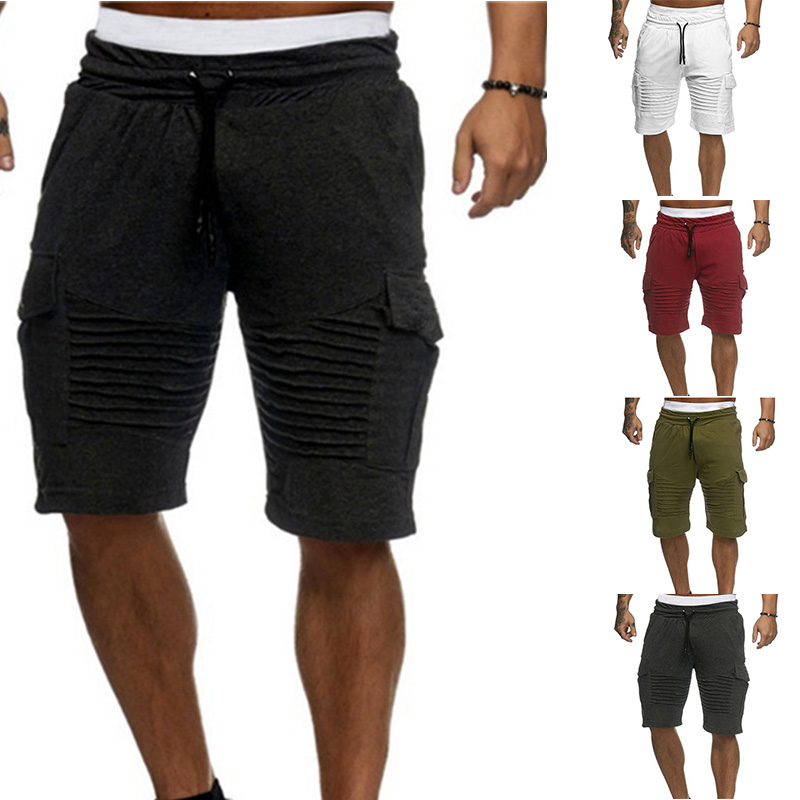 Summer   Board     Shorts   Men's Sports   Shorts   Wear Adjustable Fitness Middle Waist Straight Pants With Fold Decor Beach Jogging   Short