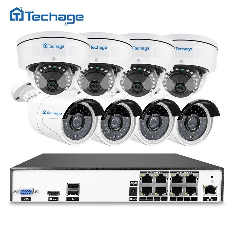 Techage H.265 8CH 48 V POE NVR 4MP sistema CCTV Vandalproof Anti-vandalismo de interior al aire libre de la cúpula IP cámara de seguridad Kit de vigilancia de