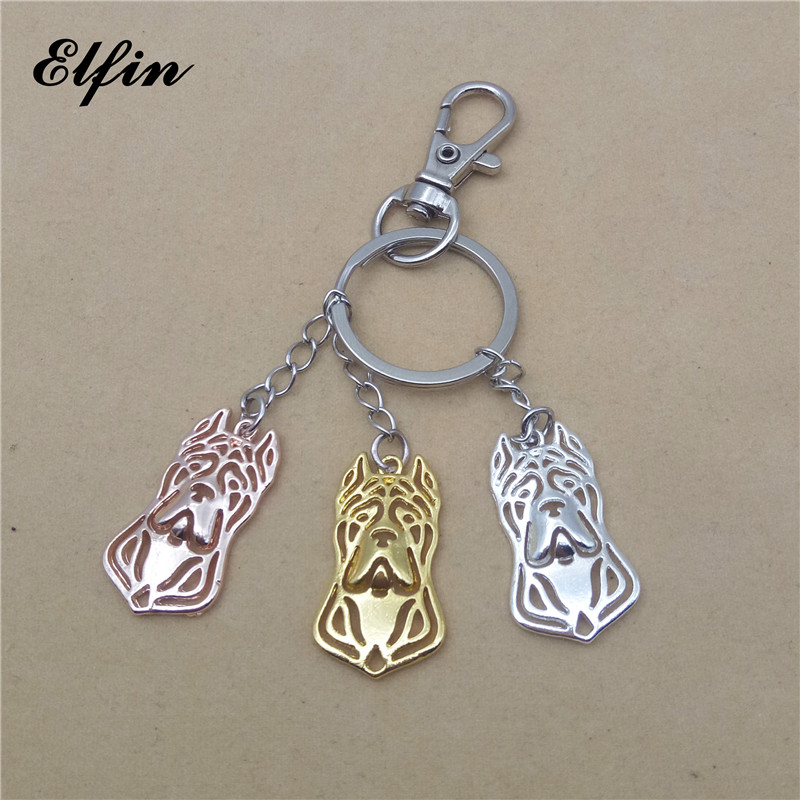 Elfin 2017 Trendy Cane Corso Keychain Fashion Animal Pet Dog Memorial Jewellery Key Chain Women Men Pet Lover Key Ring