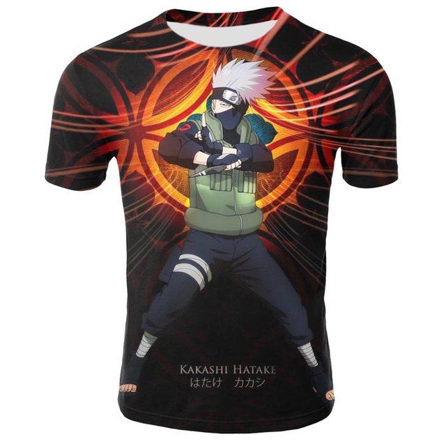Summer shirt T-shirt 3D anime Naruto men and women print short-sleeved European and American high-quality short sleeve 4