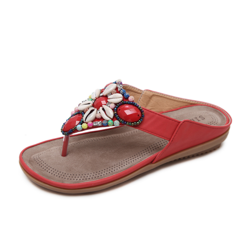 2018 Summer Flat Sandals Ladies Bohemia Beaded Beads Beach Flip Flops Shoes Women Shoes Sandles slippers