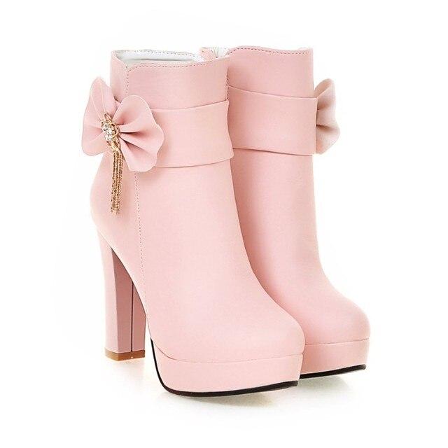 d3d25edf51b 2018 Autumn Korean Womens Pink Dress Booties Shoes Princess Bow High Heels  Black And White Platform