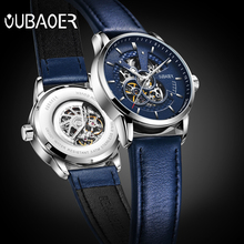 2017 אוטומטי מכאני שעון גברים OUBAOER מותג ספורט גברים שעונים אופנה שלד שעוני יד זכר relogio masculino erkek
