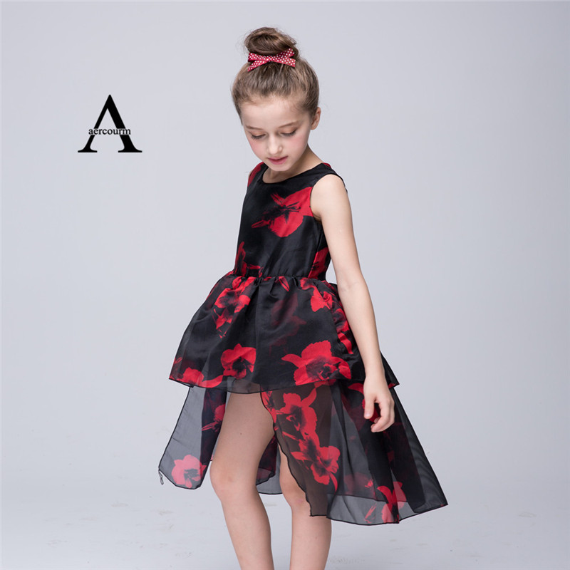 748db836d372 4 8 Years Old Girl Wedding Party Dress 2016 New Black Flower Girl ...