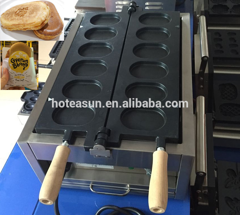 6pcs Commercial Use Non-stick 110v 220v Electric Korean Egg Bread Gyeranbbang Maker Iron Machine Baker 6pcs commercial use non stick lpg gas korean egg bread gyeranbbang machine iron baker maker