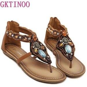 Image 1 - Женские сандалии в богемном стиле GKTINOO, винтажные сандалии на плоской подошве с открытым носком, черные, коричневые шлепанцы, лето 2019