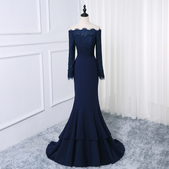 African Mermaid Evening Gowns Navy blue Off Shoulder Lace Sash Long Sleeves Prom Dress 2019 Dubai Arabic Party Gowns