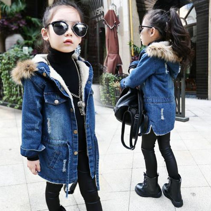 Kids Denim Jackets For Girls Winter Children's Plus Thick Windbreaker Coat Hooded Warm Outerwear Long Jacket Jean Coat Clothing dark wash long denim coat jacket with hooded