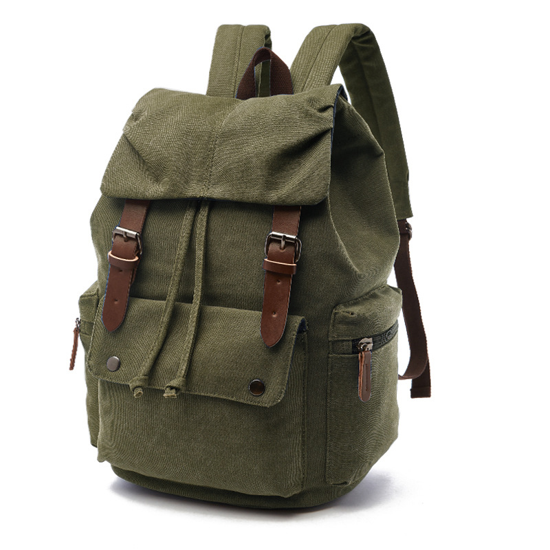 Canvas Double Shoulder Backpack High Quality Student Laptop Daypacks Bag Large-Capacity Travel Backpack Outdoor Storage Bag