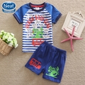 Neat new free shipping 2016 summer baby boy suit set printing letters short sleeve T-shirt&pants 100% cotton T shirt TBS5519#