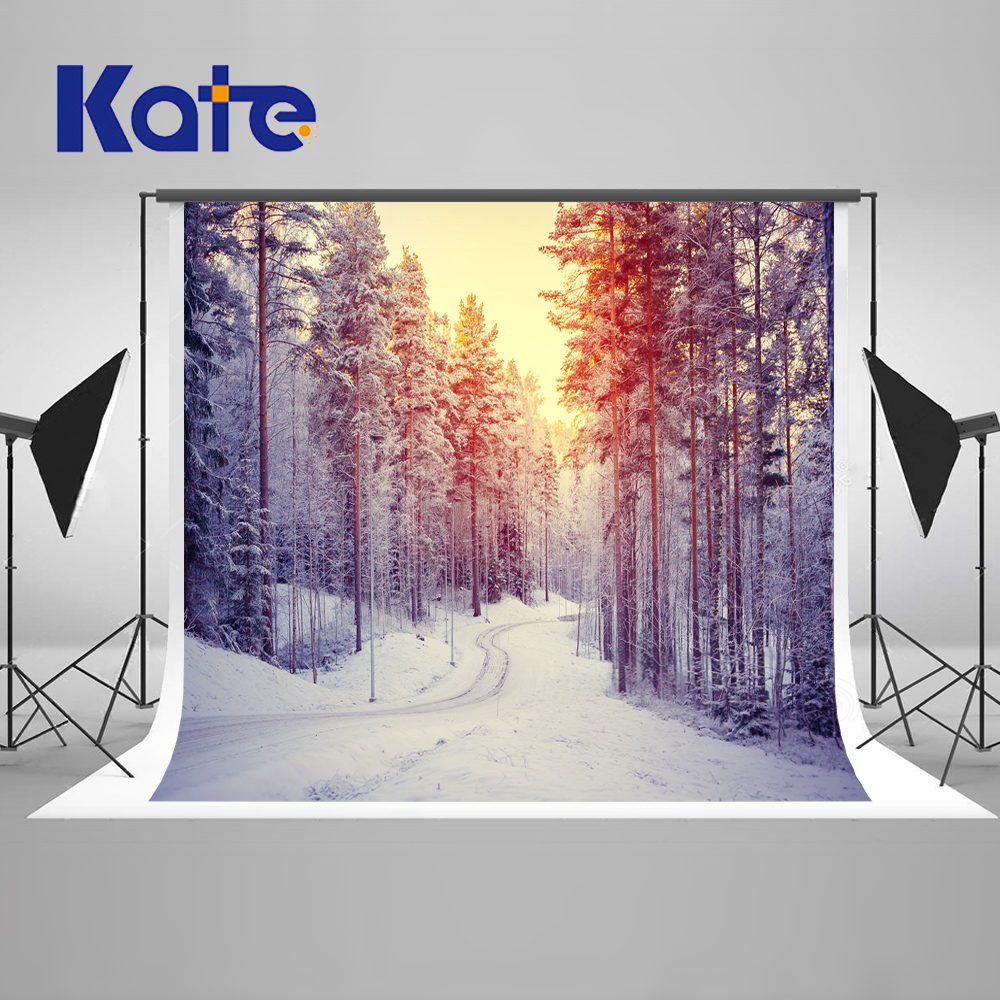 Kate Winter Frozen Backdrop 10x10ft Snow Tree Backgrounds For Photo Studio With Setting Sun For Children Wedding Background