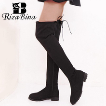 Купить с кэшбэком RizaBina Size 34-43 Thigh High Boots Female Winter Boots Women Over the Knee Boots Flat Stretch Sexy Fashion Shoes Women