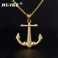 New Arrival Stainless Steel Gold Tone Anchor Pendant Necklace Vintage Vessels Nautical Anchor Charming Pendant Mens