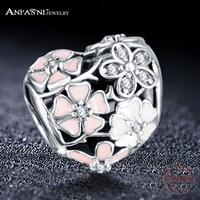 Dropshiping ANFASNI модные бусины талисманы с аутентичными 925 пробы серебро Fit Pandora оберег бусины для браслета серебряные ювелирные украшения