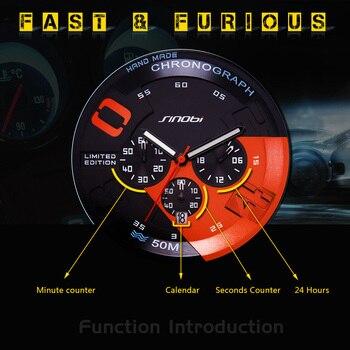 SINOBI Large Dial Design Chronograph Sport Mens Watches Fashion Brand Military Waterproof Quartz Watch Clock Relogio Masculino 2