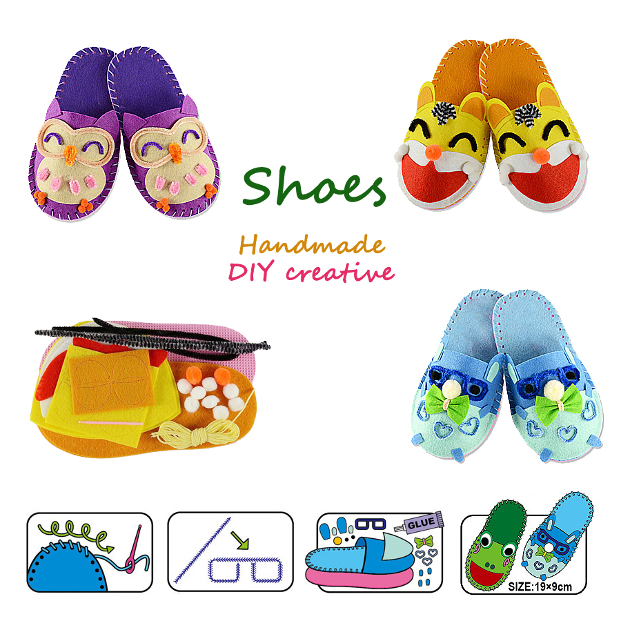 DIY Handmade Non-woven Fabric Shoes Sewing Kit For Kids,Art Craft Sewing Cartoon Slippers Art Educational Toys For Little Kids