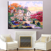 DIY By Numbers Oil Painting Coloring Villa Scenery Canvas Frameless Picture For Modern Living Room Wall Decorative Drawing