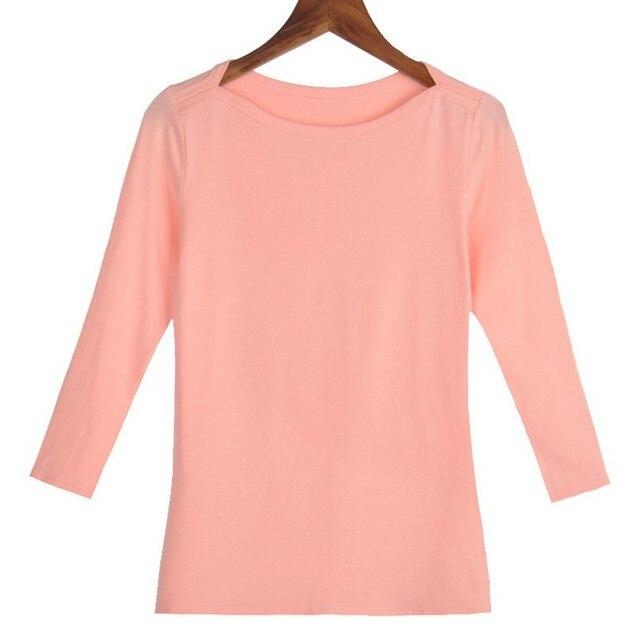 1ef1a853 Size S-XXL Women Slash Neck Slim 3 Quarter Sleeve T Shirts Lady Cotton  Comfortable Elastic Tops Tees Female Basic T-Shirt