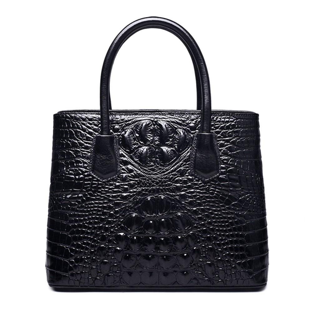 Classic Embossed Crocodile Leather Tote Bag women messenger bag with single shoulder strap stylish women s tote bag with clip closure and crocodile print design