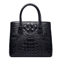 Classic Embossed Crocodile Leather Tote Purse With A Top Handle