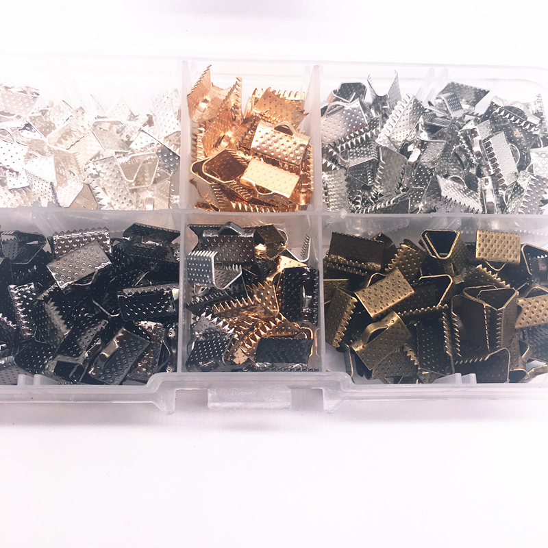 Wholesale 6/8/10/13mm Metal Crimp End Fold Over Clasps Cord End Clips DIY Jewelry Making