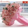 Белый/Розовый/Фиолетовый Свадебный Букет с Robbon Искусственные Розы 6 Цветов Женщины 2016 Buque Де Noiva Свадебные Аксессуары цветы Платье