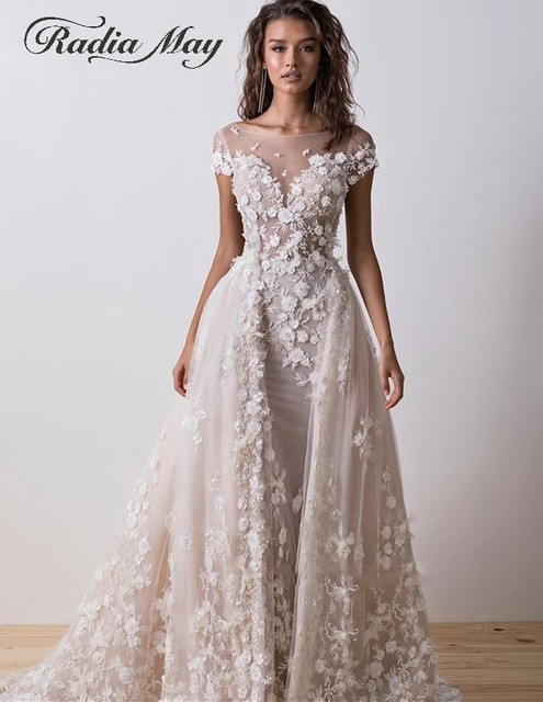 Sexy Backless Lace Mermaid Wedding Dress with Sleeves Boat Neck 3D Flower Wedding Dresses Detachable Train Appliques Bridal Gown