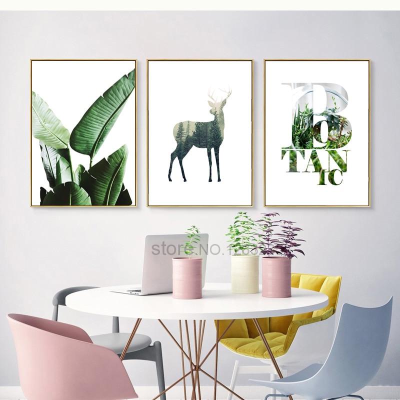 Oturma Odası Için duvar Resimleri Yeşil Bitki Nordic Poster Duvar - Ev Dekoru - Fotoğraf 2