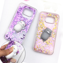 Squishy Phone Case For Samsung Galaxy S8 Plus S7 S6 Edge Case 3D Cute Cat Fox Rabbit Bling Glitter Liquid Quicksand Clear Cover