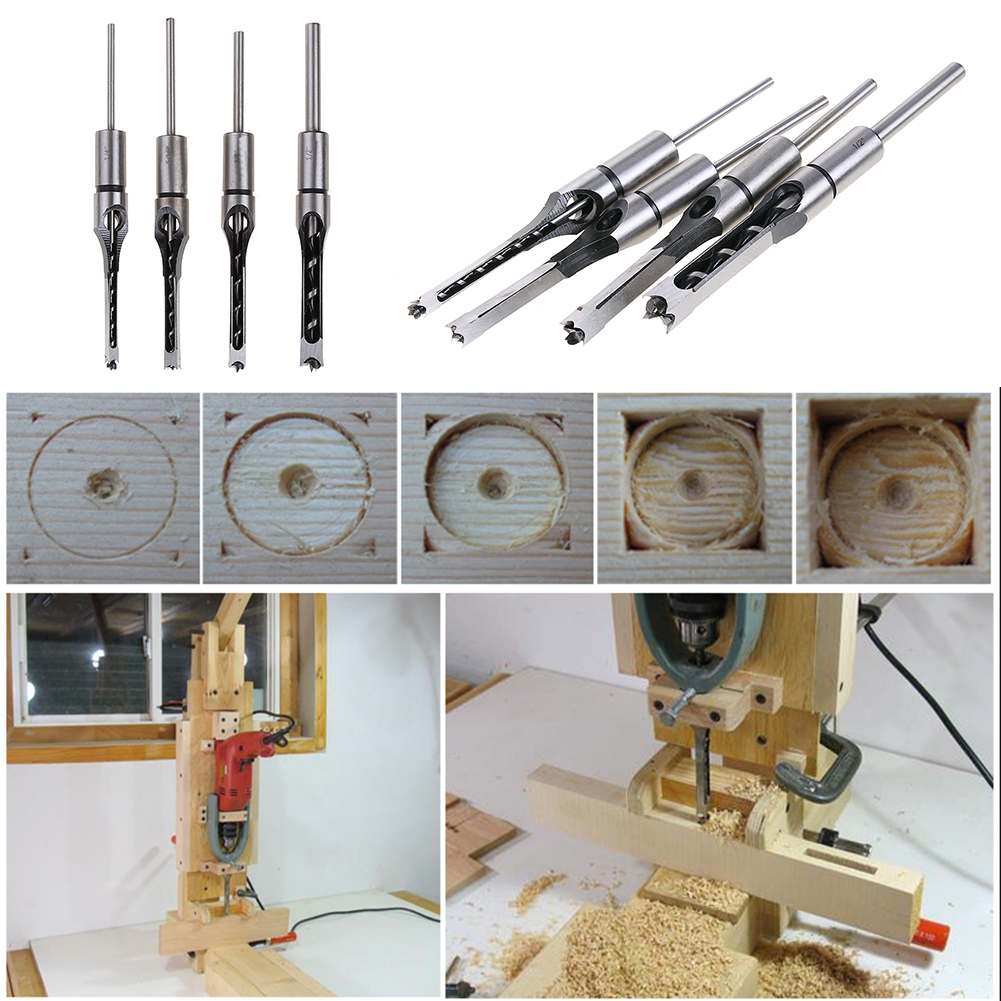 Wholesale 4PCS Woodworking Twist Drill Kit Woodworking Mortising Chisel Tool Square Hole Extended Saw Drill Bits FREE SHIPPING 4 pcs twist drill bits set woodworking tools mortising chisel set square hole extended saw set 1 4 1 2 inch