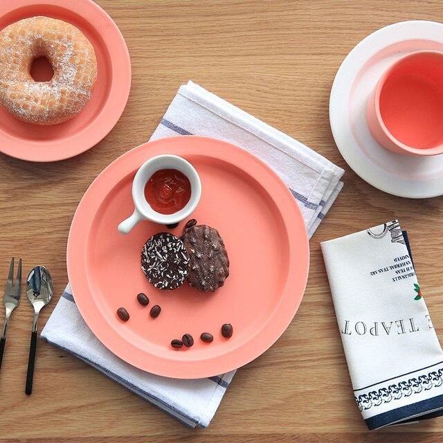 Colores s lidos estilo europeo creativo cer mica platos porcelana vajilla bajo glaseado redondo - Platos ceramica colores ...