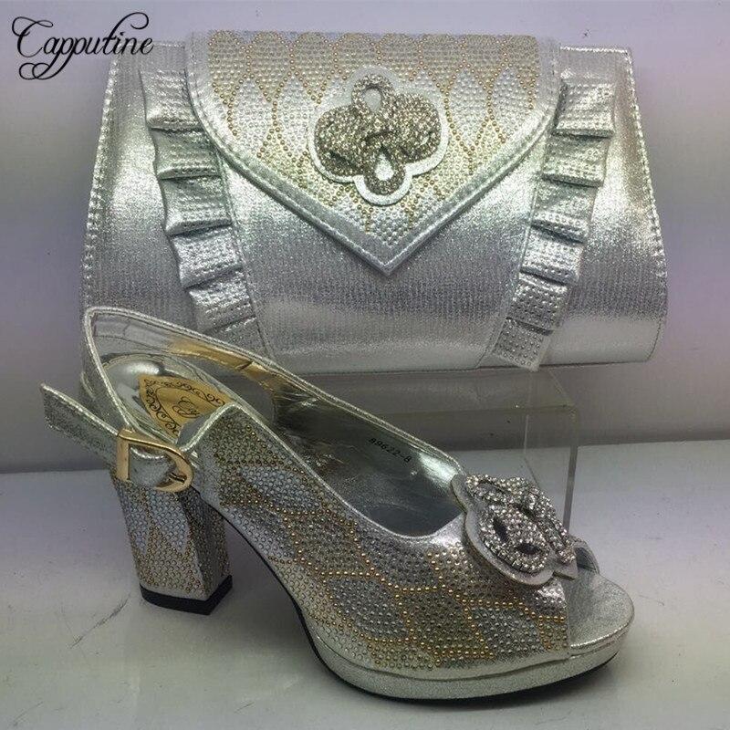 Capputine dernières chaussures en cuir PU dames et sac à main ensemble pour robe de soirée Style africain élégant chaussures en argent et sacs ensemble BL305C
