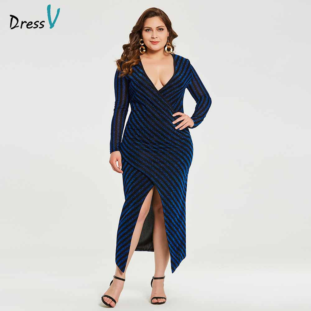 Dressv black v neck plus size evening dress mermaid long sleeves split-front wedding party formal dress evening dresses
