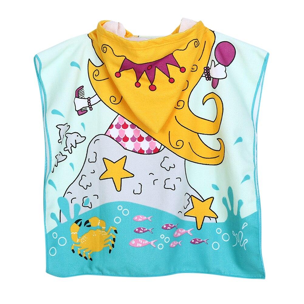 Children Polyester Beach Cloak Towel Kids Mermaid Shark Pattern Cartoon Hooded Bath Towel  For  Baby Boys Girls