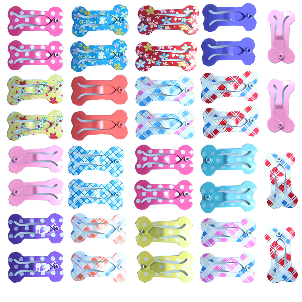 20pcs font b Pet b font Dog Hair Clips Bone Design Hairpins for dogs Dog font