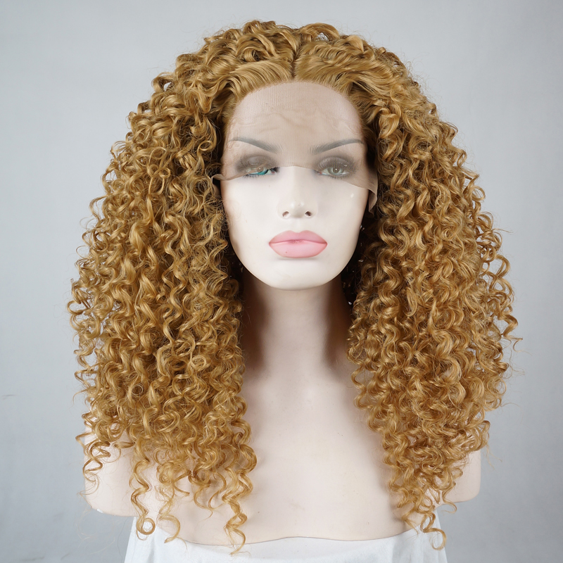 Hair Extensions & Wigs 24 Blonde Curly Daily Hair Women Long Lace Front Synthetic Wig Heat Resistant H793119