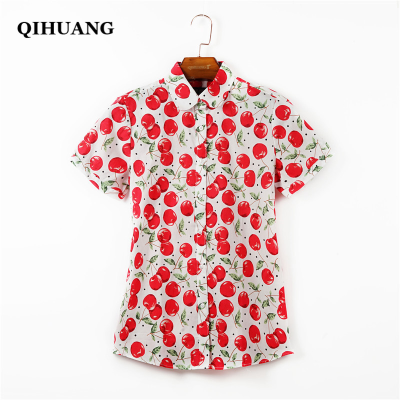 QIHUANG Women Cheery Floral Printed   Blouse     Shirt   with Short Sleeve 2019 Summer 100% Cotton Clothes Plus Size Female   Shirt