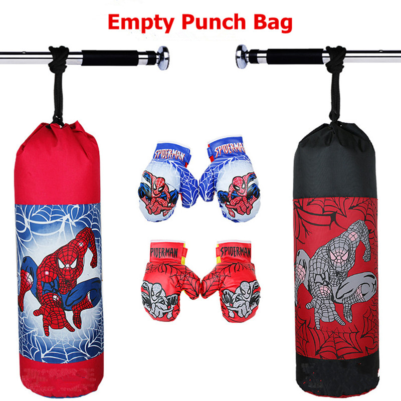 Us 18 47 24 Off New Children Kids Canvas Spider Man Boxing Punching Bag Empty And Gloves Set On Aliexpress