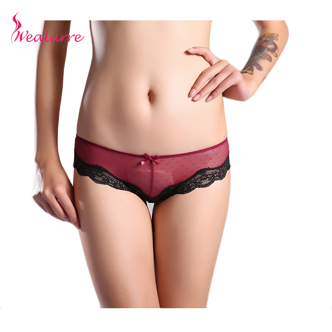 Buy Wealurre Women's Underwear lace Ultra-thin briefs Transparent Panties Women Seamless Breathable Panty Hollow  intimates Lingerie