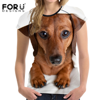 FORUDESIGNS Animal Dachshund Printed Women T Shirt Casual Woman Summer Short T Shirt For Girls Feminine