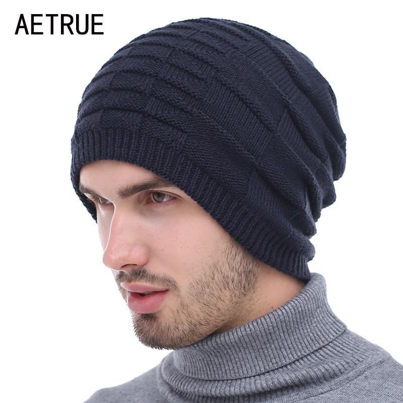AETRUE Knitted Hat Men   Skullies     Beanies   Winter Hats For Men Women Bonnet Caps Gorros Plain Male Warm Solid Winter   Beanie   Hat Cap