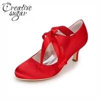 Creativesugar Elegancki ribbon tie kobieta med heel closed toe wesele bal impreza wieczór sukienka buty ślubne obcasy czerwony fioletowy